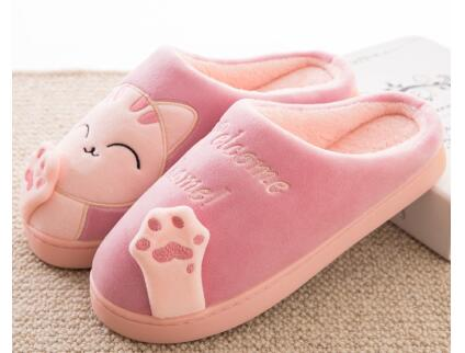 9e4f9b1451f ... Pink and Grey  Women s Cat Slippers ...