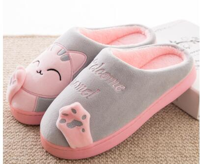 aeb098a0c0c ... Women s Cat Slippers Pink and Grey