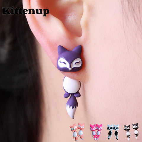 Fox Earrings Purple