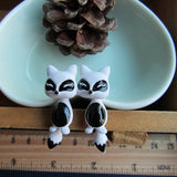 Fox Earrings White Black