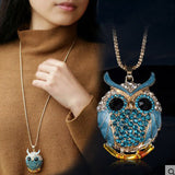 Vintage Rhinestone Owl Crystal Long Pendant Necklace