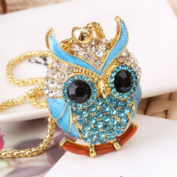owl pendant necklace Blue Crystal