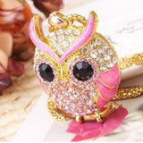 owl pendant necklace Pink Crystal