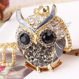 owl pendant necklace Black Crystal