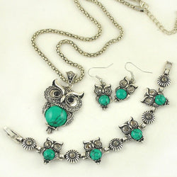 Jewelry Set Green Owl