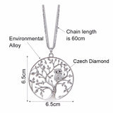 Owl Tree of Life Pendant Necklace Dimensions