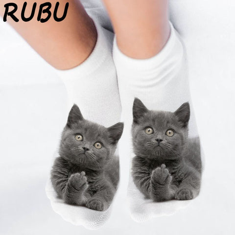 Cute 3D Cat Print Socks for Women