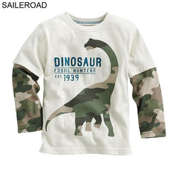 Dinosaur T Shirt White with Camouflage Sleeves