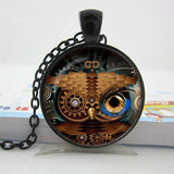 Steampunk Owl Glass Cabochon Necklace