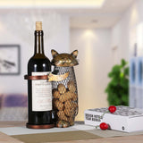 Cat Wine Bottle Holder on table