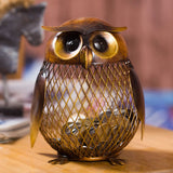 Owl Piggy Bank with coins