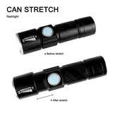 USB LED Rechargeable Flashlight Stretched