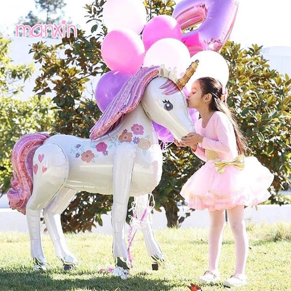 Unicorn Party Decorations | 3D Large Unicornio Walking Foil Balloons