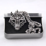 Norse Vikings Wolf Head Pendant Necklace