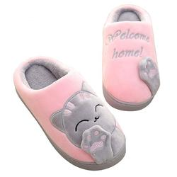 Women's Cat Slippers Pink and Grey