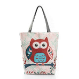 owl tote bag red and blue owl