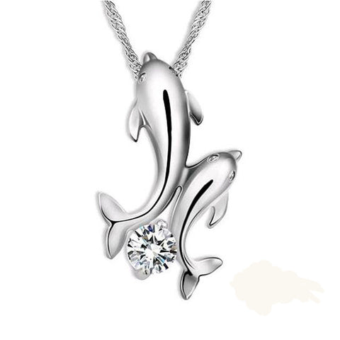 Silver Plated Double Dolphin Rhinestone Necklace