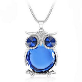 Rhinestone Crystal Owl Long Chain Pendant Necklace
