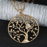 Owl Tree of Life Pendant Necklace Rose