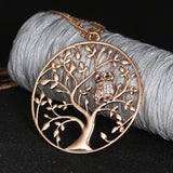Owl Tree of Life Pendant Necklace Gold