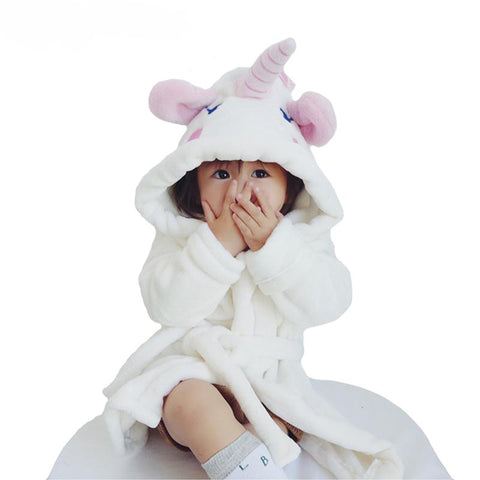 Unicorn Style Terry Bathrobe For Girls