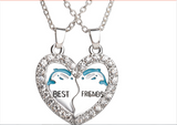 Best Friends 2 Part Broken Heart Crystal Pendant