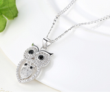 Bamoer Vintage Owl Pendant Necklace with AAA Austrian Zircon