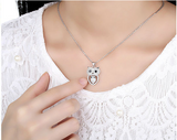 Owl Pendant Necklace worn by woman