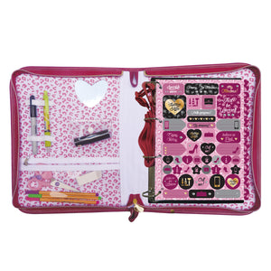 zippered school 4 ring binder with 48 sheets and decorative stickers