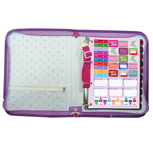 zippered school  binder with decorative sheets and stickers