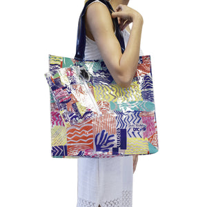 large size beach bag in PVC with exclusive pattern