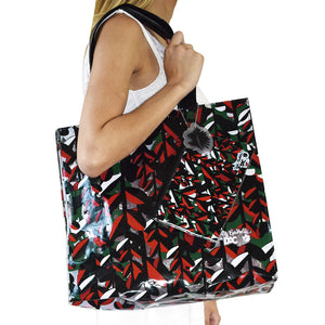 large beach bag in pvc with exclusive pattern