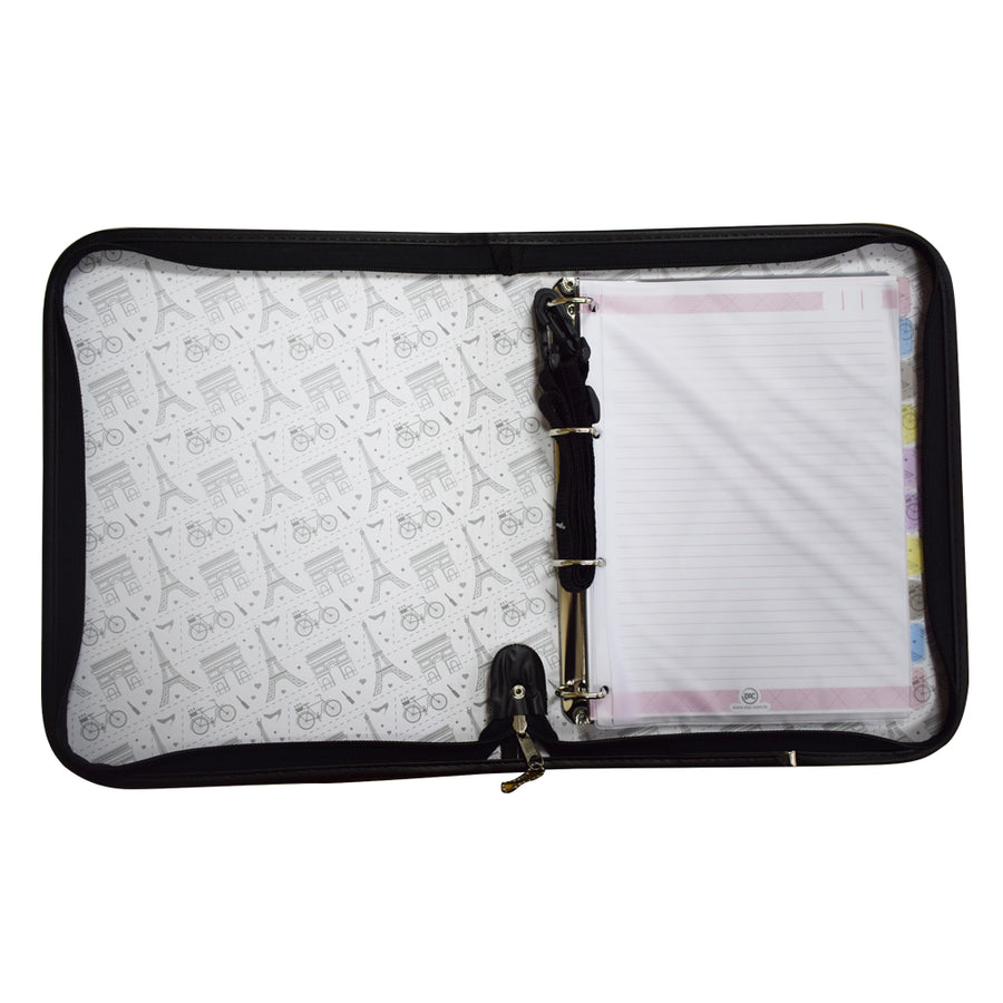 Exquisite Pink Design Zipper Ring Binder