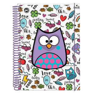 Bubu Owl Family Spiral Notebook with 300 Decorative rules Sheets