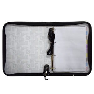 Black Zipper Ring  Binder with Soccer Motif