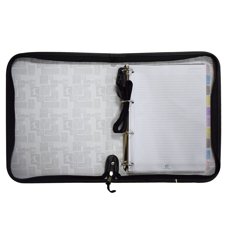 European style zipper 4 ring binder