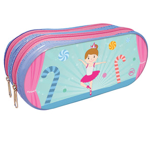 Zippered double pocket pencil case
