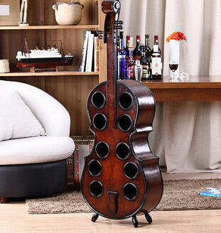 Wooden European Guitar Cello 10 hole Wine Rack