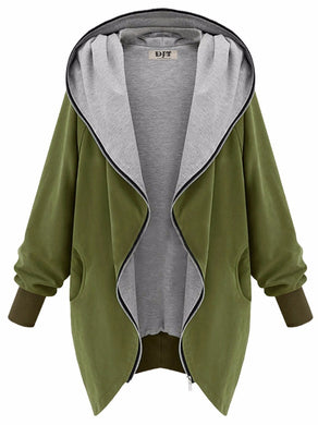 Fashionable 'The Fat Sister Was Thin' Casual Hooded Large Size Women's Jackets / coats