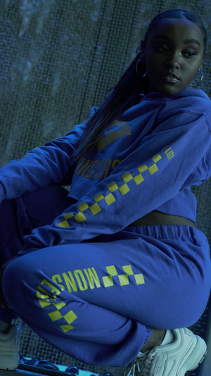 Royal / Yellow Checkered Print Sweatpants