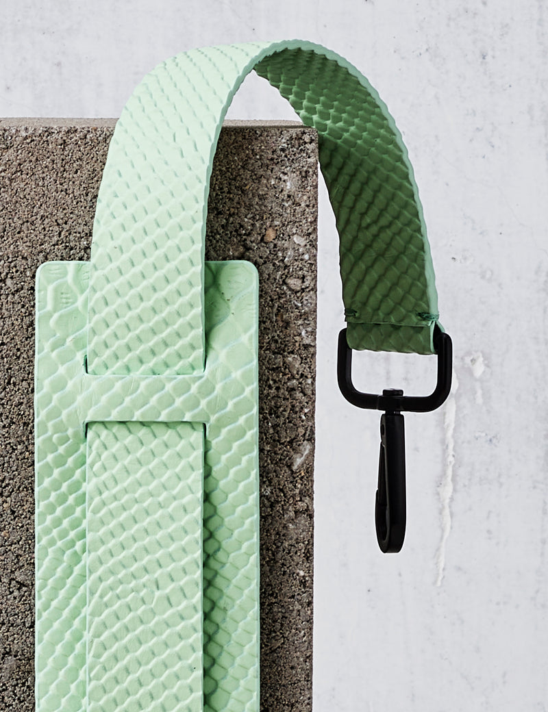 Leather Shoulder Strap / Mint Python