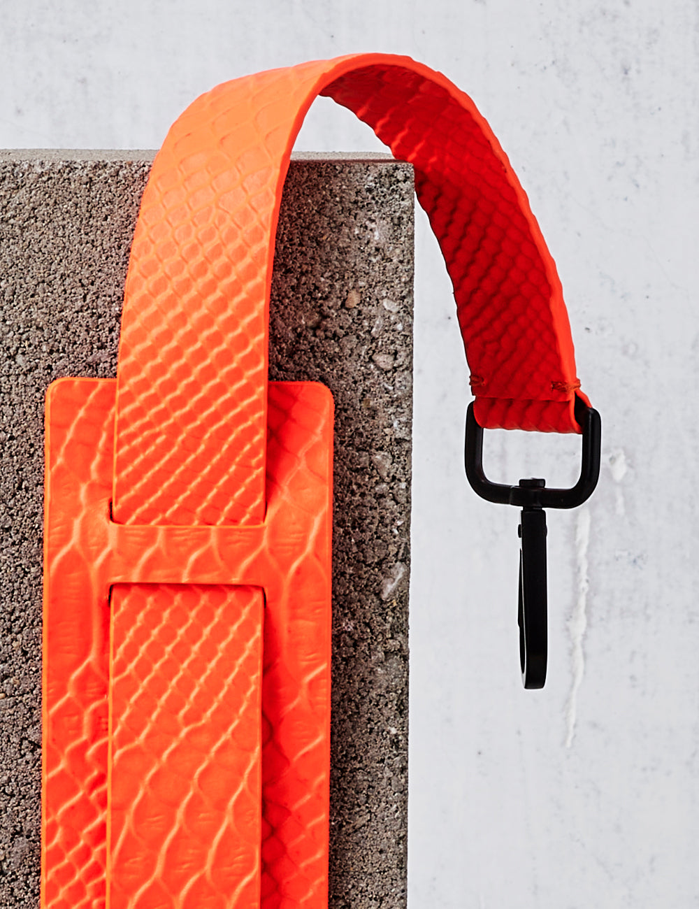 Leather Shoulder Strap / Neon Orange Python