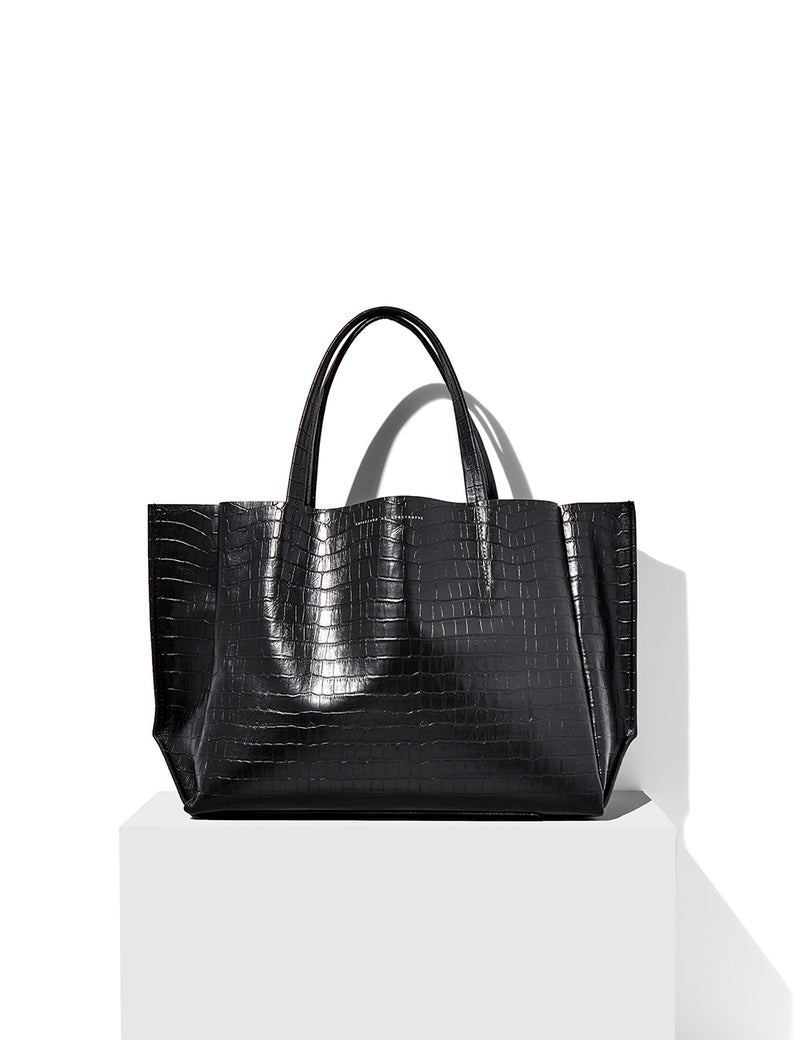 Sideways Tote / Black Croco