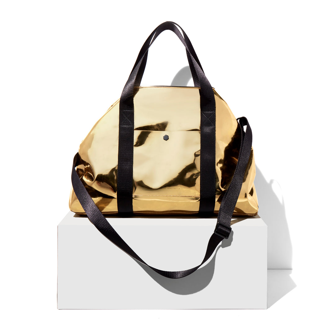 AMPERSAND AS APOSTROPHE fashionable gold summer leather duffle women's nylon webbing shoulder strap lightweight twin carry handles large everyday bag