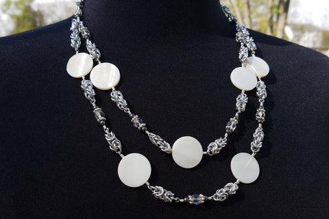 Double Strand Necklace with White Shell