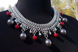 Grey Pearls and Red Stone Collar Necklace