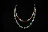 Green Stone and Orange Catseye Double Strand Necklace with Green Serpentine with Teal Stretchy Byzantine Bracelet.