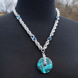 Cane Glass Donut Pendant with Double Spiral chainmaille