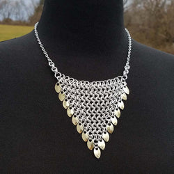 Triangle Bib-style Necklace with Gold Scales