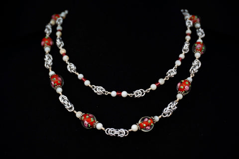 Red lampwork and white shell Byzantine Double Strand
